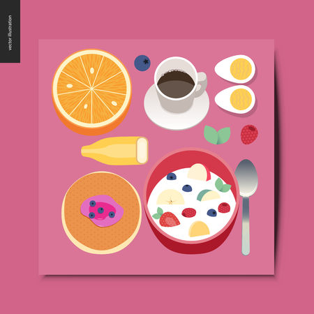 Simple things - breakfast composition - set of breakfast meal - orange, coffee, banana, eggs, pancake, cereal - postcard, vector illustration Banque d'images - 103343339