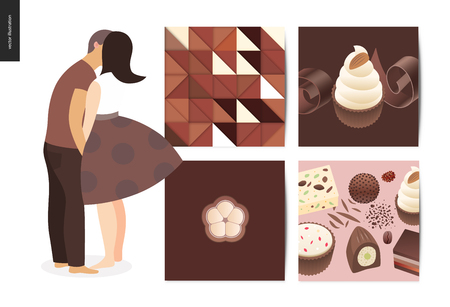 Kissing scene - flat cartoon vector illustration of young couple kissing, chocolate, romantic scene, white sweet cupcakes, crisp bonbons, coffee and cacao, candy, brown abstract pattern - postcard
