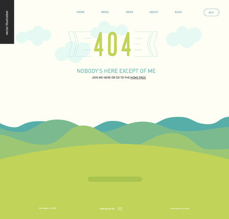 404 error web page template - landscape with green blueish hills and mountains, clear sky with clouds, green grass field, Nobodys Here Except Of Me text, sunny day - menu template Illusztráció
