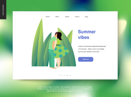 Kissing scene - flat cartoon vector illustration of young couple, boyfriend and girlfriend, kissing on beach, romantic scenery, green leaves, grass - postcard, web template, summer vibes Stock Photo