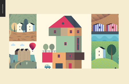 Simple things - houses - flat cartoon vector illustration of colourful countryside house, isolated building, tower, striped portuguese houses, farmland, castle, tower clock - houses composition