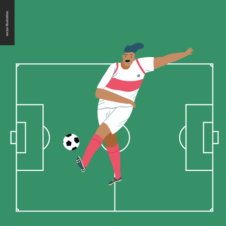 European football, soccer player - flat vector illustration of a young man wearing european football player equipment kicking a soccer ball on the background of green football field with white marking
