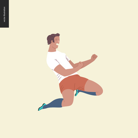 Womens European football, soccer player - flat vector illustration - soccer player winning a victory -young woman wearing European football equipment clenching fists in victory, sitting on her knees Stock Illustratie
