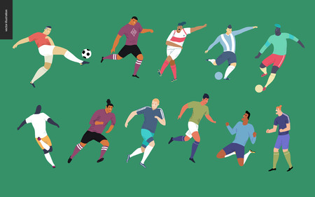 European football, soccer players set - flat vector illustration of a young men wearing european football player equipment kicking a soccer ball, running or standing on the green football field Stock Illustratie