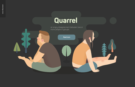 Quarrel vector concept illustration - a scene with a young couple sitting turning away from each other after a conflict, on the dark background with trees landscale