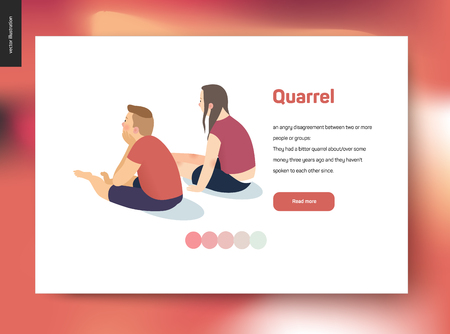Quarrel vector concept illustration - a scene with a young couple sitting in a silence turning away from each other after a conflict, web template