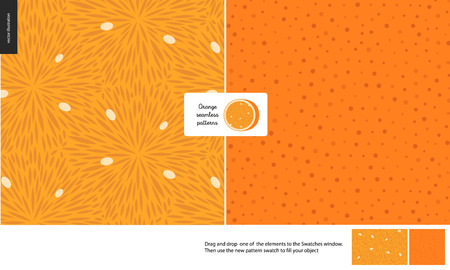 Food patterns, summer - fruit, orange texture, small half of an orange image in the center - two seamless patterns of the orange pulp full of white seeds and rind with little holes, orange background  イラスト・ベクター素材