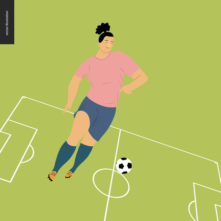 Womens European football, soccer player - flat vector illustration - young woman wearing european football player equipment kicking soccer ball on background of green football field with white marking