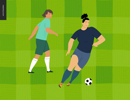 Womens European football, soccer player - flat vector illustration - two young weman wearing european football player equipment kicking soccer ball on background of green grass checked football field Illustration