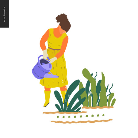 People summer gardening - flat vector concept illustration of a young woman wearing yellow mustard dress, mitts and boots, watering a plant, self-sufficiency concept Illustration