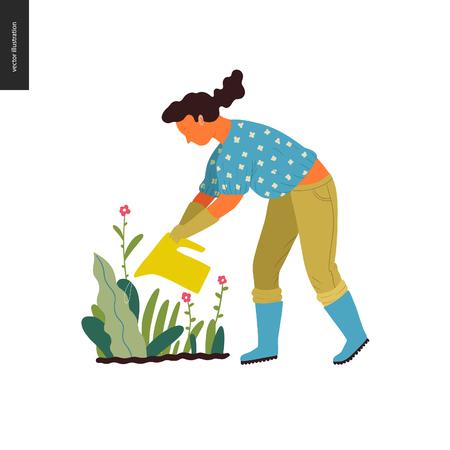 Gente de jardinería de verano - ilustración de concepto de vector plano de una mujer joven con blusa y pantalones, guantes y botas, regando una planta en flor, concepto de autosuficiencia