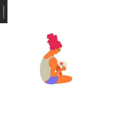 People park festival picnic -flat vector concept illustration of a young red haired woman with tall hirstyle wearing tank top and shorts, sitting on the ground and eating food with fork from the plate