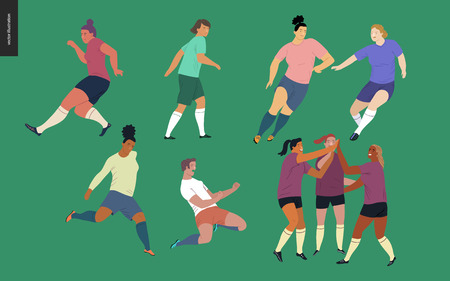 European football, soccer players set - flat vector illustration of a young women wearing european football player equipment kicking a soccer ball, running or standing on the green football field Stock Illustratie