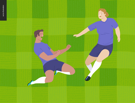 European football, soccer players -flat vector illustration - soccer players winning victory - young women wearing European football equipment clenching their fists in victory on grass checked field Stock Illustratie