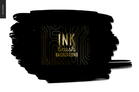 Ink Brush Background - abstract vector illustration. Ink brush strokes with rough edges, dry brush, black paint. Dirty artistic design element, gold lettering title - handmade vector illustration