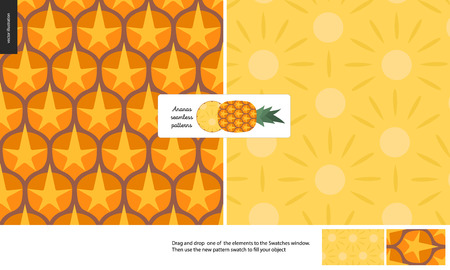 Food patterns - fruit, vector flat pineapple texture - two seamless patterns of brown pineapple rind full of orange spines and yellow juicy pulp, and flat simple entire pineapple with a round chunk Stock Illustratie