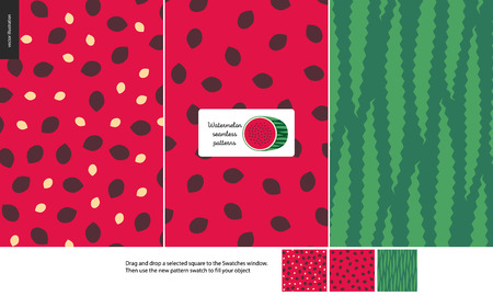 Food patterns, summer - fruit, watermelon texture, melon - seamless patterns of watermelon flesh pulp full of white and black seeds, light green and dark green rind, half of watermelon image in center