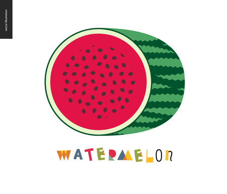 Food patterns - fruit, watermelon - half of striped watermelon on a white background, rind, pulp and black seeds - melon postcard, and lettering, perfect for t-shirt, bag or other textile decoration Illustration