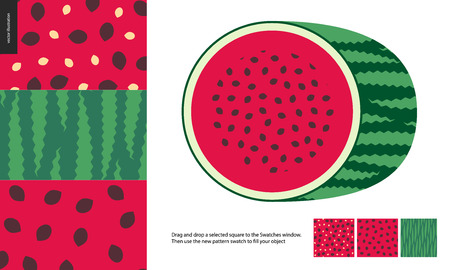 Food patterns, summer - fruit, watermelon texture, melon - seamless patterns of watermelon flesh pulp full of white and black seeds, light green and dark green rind, half of watermelon image on side