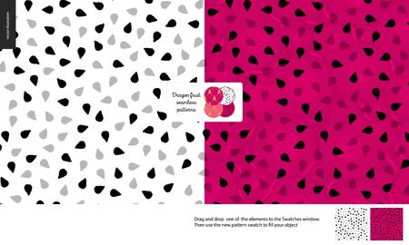 Modèles de nourriture, été - fruits, illustration vectorielle plane, texture du fruit du dragon, petite moitié de l'image du fruit du dragon au centre - deux modèles sans couture de pulpe sucrée de pitahaya blanc et rouge
