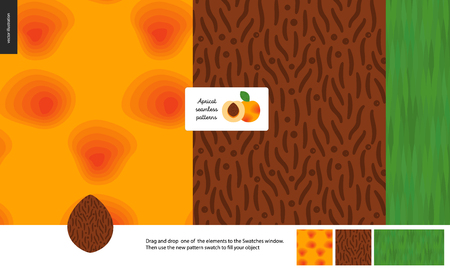 Food patterns, summer - fruit, apricot texture, half of apricot image in center - three seamless patterns of apricot yellow orange smooth rind, seed with grainy smooth texture and green leaf pattern