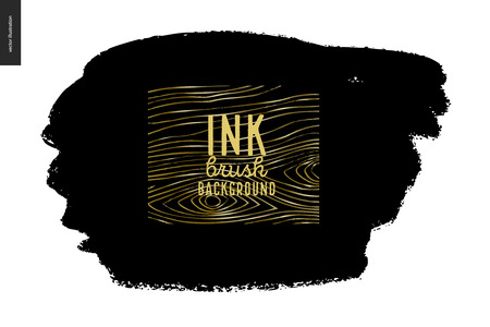 Ink brush strokes with rough edges, dry brush, black paint. Dirty artistic design element, gold lettering title. Ilustração