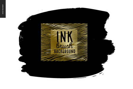 Ink brush strokes with rough edges, dry brush, black paint. Dirty artistic design element, gold lettering title. Illustration