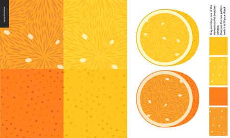 Lebensmittelmuster, Sommer - Frucht, Zitrone und Orange Textur, Hälfte von Zitrone und Orange auf Seite - vier nahtlose Muster von Fruchtfleisch voller weißer Samen, Rinde mit kleinen Löchern, gelber und orangefarbener Hintergrund Vektorgrafik