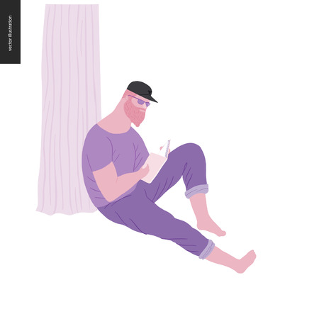 People park festival picnic - flat vector concept illustration of a big young bearded man wearing jeans, t-shirt and peaked cap sitting on the ground leaning against a tree trunk and reading a book