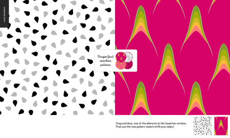 Food patterns, summer - fruit, dragonfruit texture, tiny half of dragon fruit image in center - two seamless patterns of purple dragonfruit rind with little green thorns and white pulp, black seeds Illustration