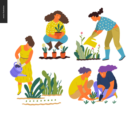 People summer gardening - set of vector flat hand drawn illustrations of people doing garden job - watering, planting, growing and transplant sprouts, self-sufficiency concept Çizim