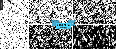 Set, hand drawn black, white pattern. Vector seamless pattern. Abstract background, dots. Monochrome texture cork, clay. Hipster graphic design. Endless vector backgrounds, simple textures - circles