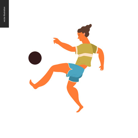 People park festival picnic - flat vector concept illustration of a young brunette man wearing olive coloured t-shirt and marine blue shorts playing with a black football on the ground. Bare feet Çizim