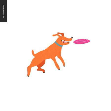 Perro en el parque - ilustración del concepto de vector plano de un perro marrón anaranjado con collar azul, saltando en el aire tratando de atrapar un frisbee rosa