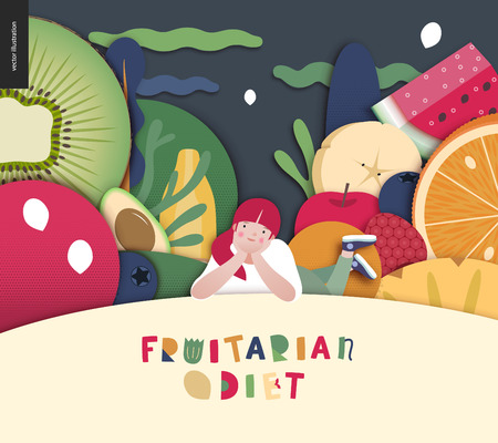 Fruitarian food diet- flat vector concept illustration, composition of a healthy fruit diet, young ginger girl lying on hill, night sky with clouds, Fruitarian Diet lettering, giant fruits and berries Illustration