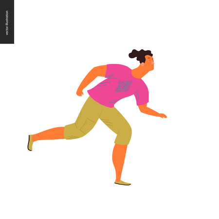People park festival picnic - flat vector concept illustration of a young brunette man wearing bright pink t-shirt and yellow greenish trousers running on the ground. Olive coloured shoes Illustration