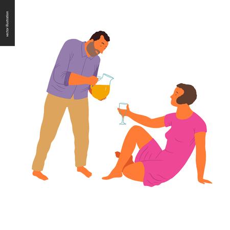 Mensen zomer tuinieren - platte vector concept illustratie van jonge vrouw zittend op de grond met een glas en een man staan en limonade gieten in dat glas, zelfvoorziening concept