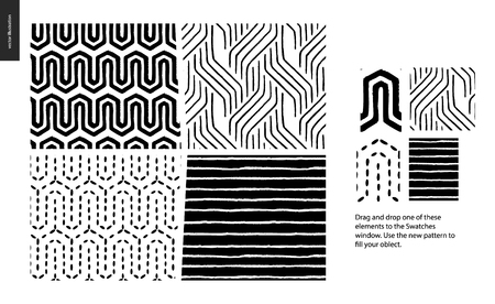 Hand drawn Patterns - a group set of four abstract seamless patterns - black, gold and white. Geometrical lines, dots and shapes - pieces