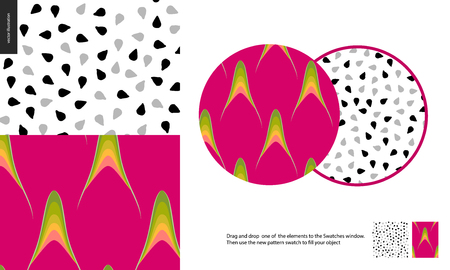 Food patterns, summer - fruit, dragonfruit texture - two seamless patterns of purple dragonfruit rind with little green yellow thorns and white sweet firm pulp with white and black seeds - pitahaya