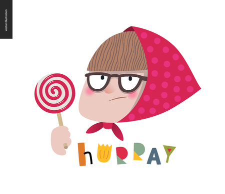 People - lollypop - flat vector concept illustration of an old woman with glasses, poker face, bang and red shawl with pink polka dots holding a white lollypop and red spiral. Hurray lettering.