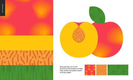Food patterns, summer - fruit, peach texture, half of peach image on side - four seamless patterns of peach sweet firm yellow pulp, yellow orange smooth rind, seed of grainy smooth texture, green leaf