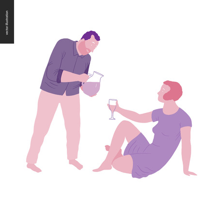 People summer gardening - flat vector concept illustration of young woman sitting on the ground holding a glass and a man standing and pouring lemonade into that glass, self-sufficiency concept