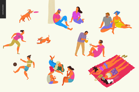 People park festival picnic - flat vector concept illustration of a group of people relaxing in the park - having picnic, getting tan, playing soccer, reading, playing with a dog, talking in a company