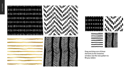 Hand drawn Patterns - a group set of four abstract patterns - black, gold and white. Geometrical lines, dots and shapes - pieces Illustration