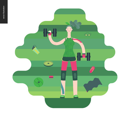 Gym - a girl llifting weights in the gym - flat vector concept illustration of a woman wearing green tank top, pink leggings on a green background. Healthy concept - weights, barbell, ball, gymnasium.