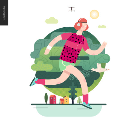 Runners - a man running in the park - flat vector concept illustration of ginger guy with headphones, pink t-shirt and mint green shorts. Healthy activity - green park, trees, drone and house buildings