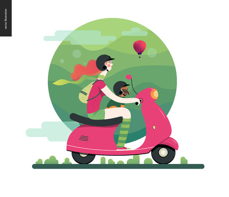 Girl on a scooter - flat vector concept illustration of ginger girl wearing helmet riding a pink scooter, brown french bulldog on lap wearing small helmet, pink air balloon - green background