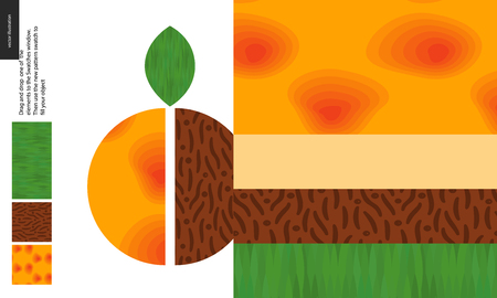 Food patterns, summer - fruit, apricot texture, half of apricot image on side - four seamless patterns of apricot sweet firm pulp, yellow orange smooth rind, seed of grainy smooth texture, green leaf Illustration