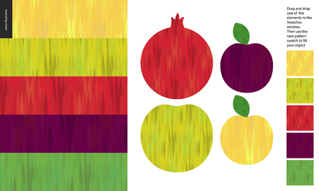 Food patterns, flat vector illustration - apple, pomegranate, plum texture - five seamless patterns of fruit yellow, light green, red, purple and dark green rind. Simple uneven colored striped texture