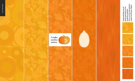 Food patterns, vegetable, flat vector illustration - pumpkin texture - small cut pumpkin, seed image and five seamless patterns of uneven pumpkin fresh pulp and dark orange geometrical rind
